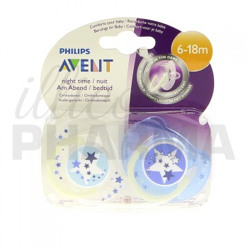 Avent sucette silicone Nuit 6/18m